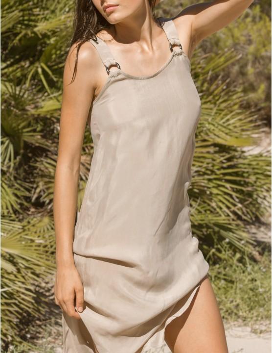 VUMA cupro dress - TANNED - RESET PRIORITY